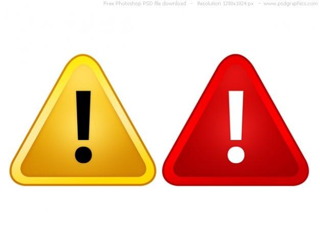 Psd-красные и желтые предупреждающие знаки Бесплатные Psd