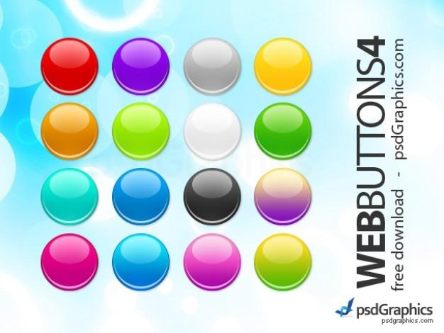 Psd round web buttons set Free Psd