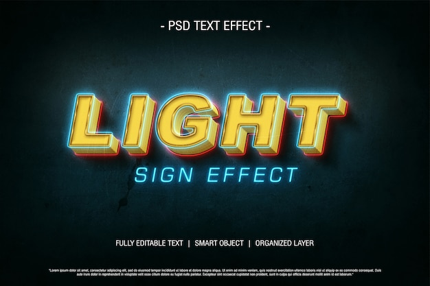Psd text effect light sign Premium Psd