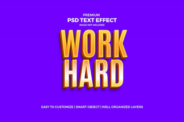 Psd-шаблон work hard golden text effect Premium Psd