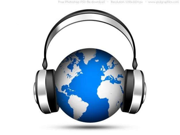 Psd world music icon, globe with headphones Free Psd
