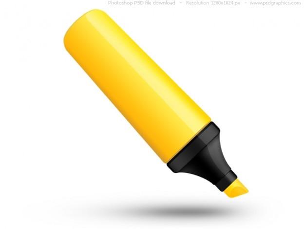 PSD yellow highlighter pen icon Free Psd