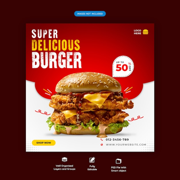 おいしいハンバーガーソーシャルメディア平方バナーテンプレートプレミアムpsd Premium Psd