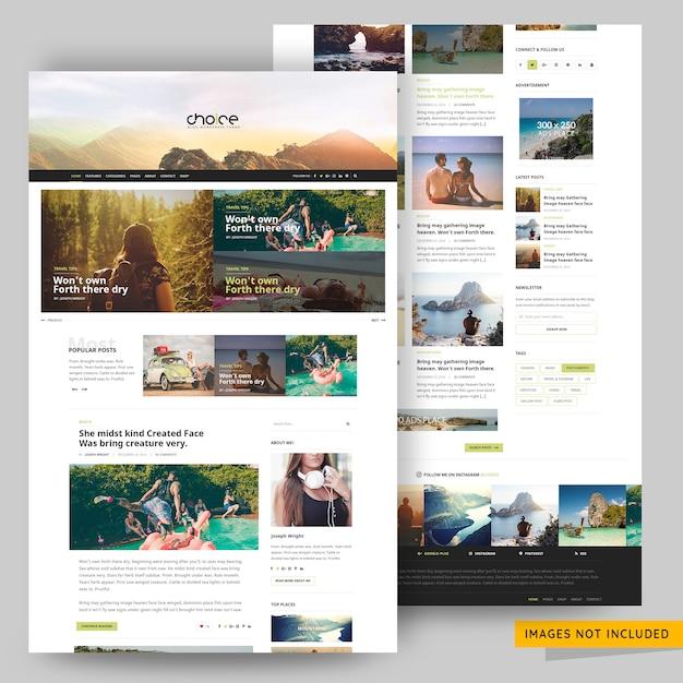 旅行および旅行代理店のブログテンプレートプレミアムpsd Premium Psd