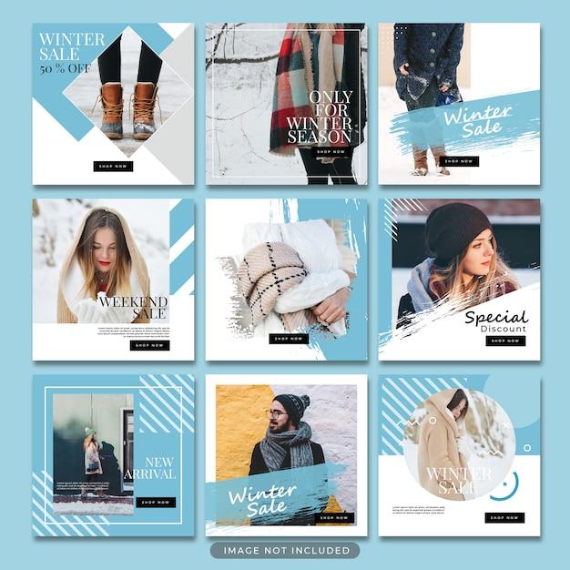 Зимняя мода в социальных сетях опубликовать шаблон psd Premium Psd