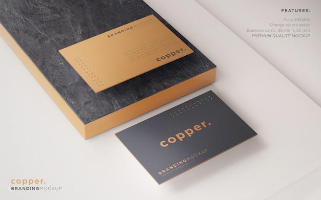 Минимальный темный и медный макет визитной карточки psd Бесплатные Psd