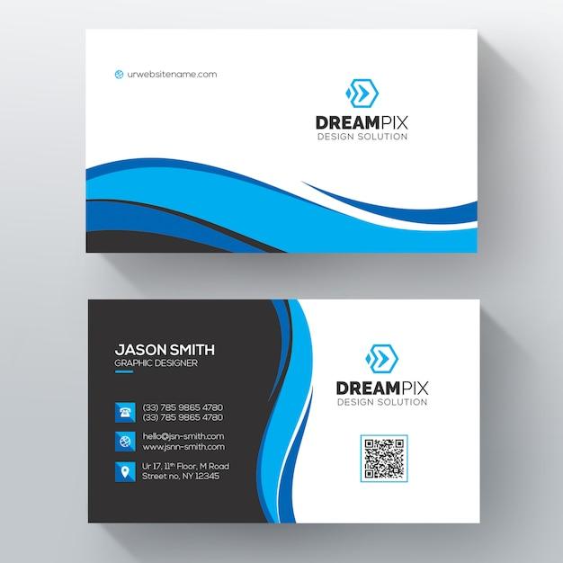 Синий волнистый шаблон визитной карточки psd Бесплатные Psd