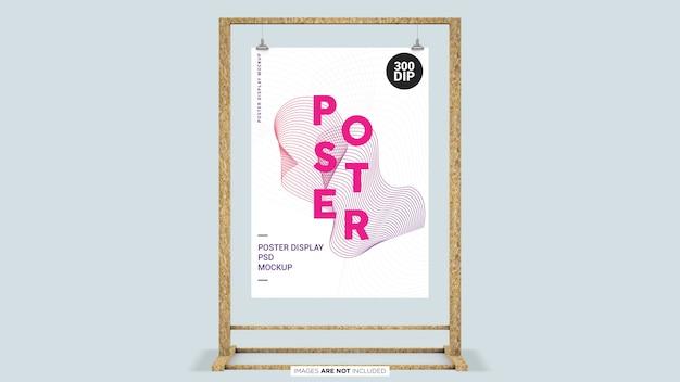 Дисплей плаката с деревянной рамой psd макет Premium Psd