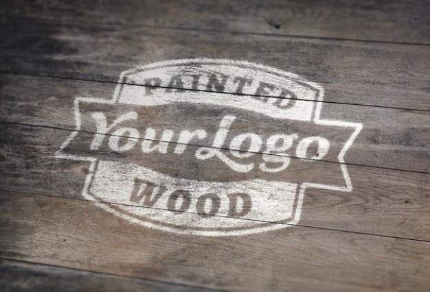 木材psdモックアップに描かれた白 無料 Psd