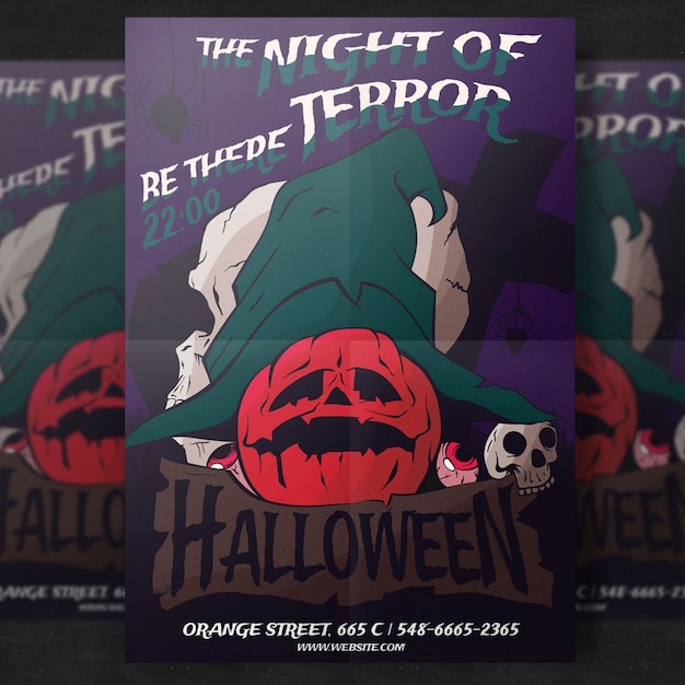 Pumpkin halloween party flyer template Free Psd