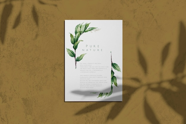 Pure nature with leaves poster mockup Free Psd
