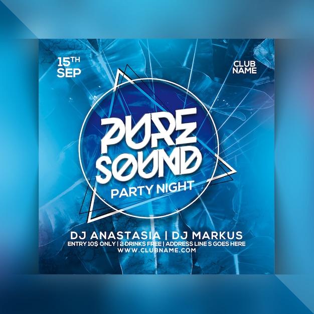 Pure sound party flyer Premium Psd