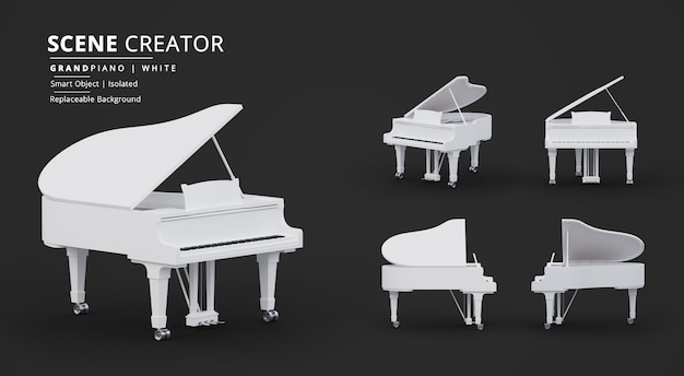 Создатель сцены для рояля pure white grand piano scene creator Premium Psd