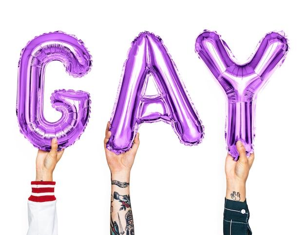 Purple alphabet balloons forming the word gay Premium Psd