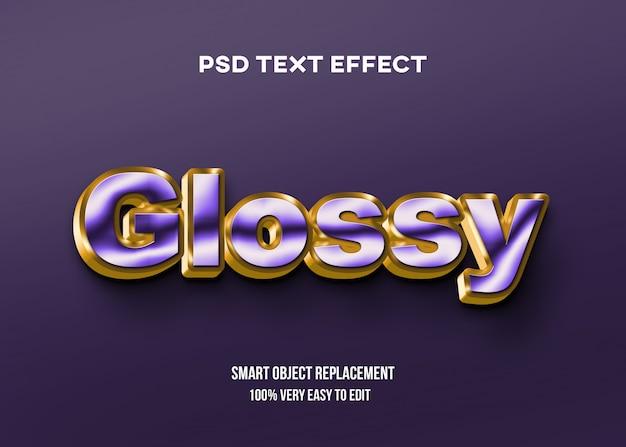 Фиолетовый и золотой глянцевый текстовый эффект Premium Psd