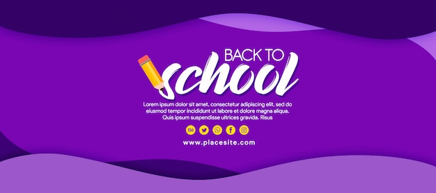 Purple banner back to school with pencil Premium Psd
