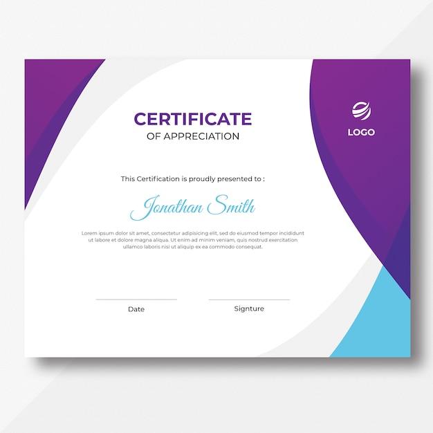 Purple and blue waves certificate design template Premium Psd
