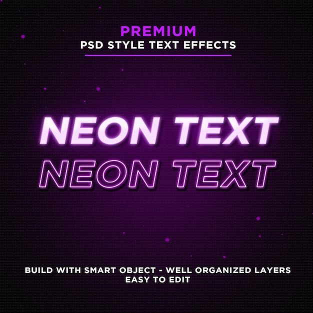 Фиолетовые светящиеся неоновые текстовые эффекты Premium Psd