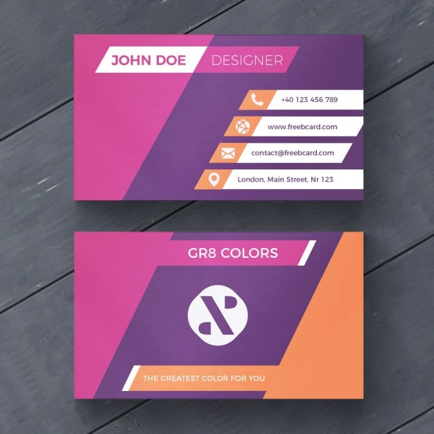 Purple and orange business card Free Psd