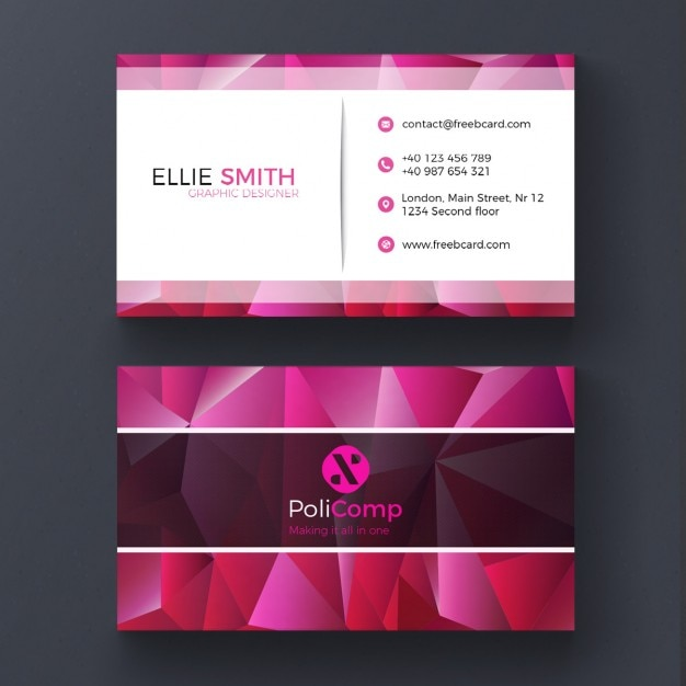 Purple polygonal business card Free Psd