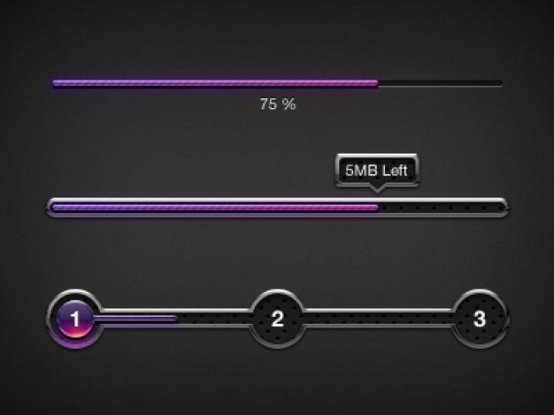 Purple progress bars ui elements Free Psd