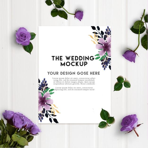 Purple Rose Wedding Invitation Card Mockup Psd File