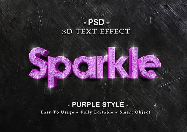 보라색 스파클 텍스트 효과 템플릿 프리미엄 PSD 파일