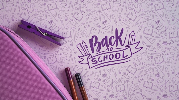 Purple supplies for back to school event Free Psd