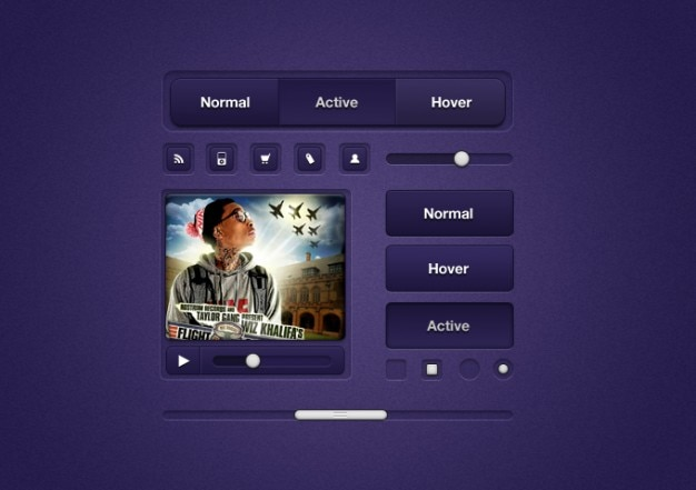 Purple ui elements Free Psd