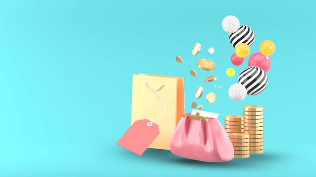 The purse is surrounded by shopping bags and coins on a blue Premium Psd