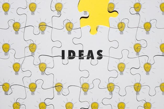Концепция головоломки с лампочками Бесплатные Psd