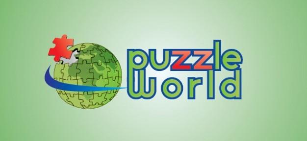 Puzzle world globe vector logo Free Psd