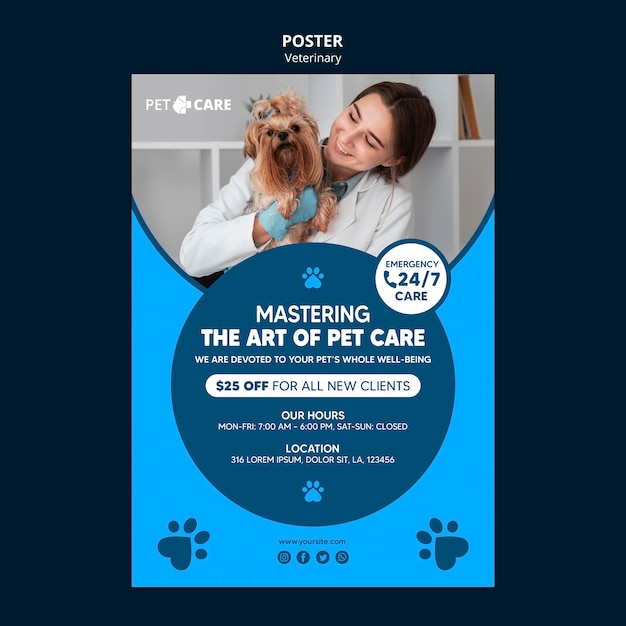Quality pet care poster print template Free Psd