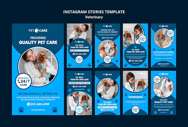 Quality pet caresocial media stories template Free Psd