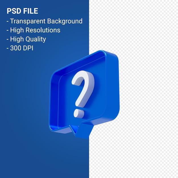 Вопросительный знак уведомления 3d значок изолированные Premium Psd