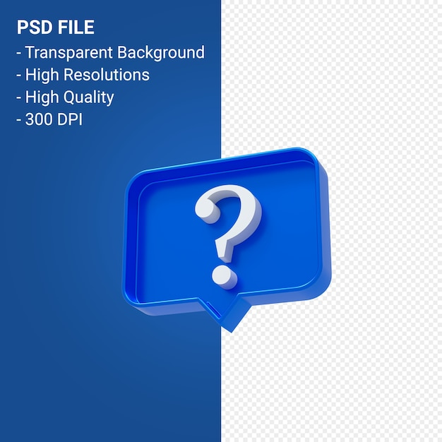 Question mark notification 3d icon isolated Premium Psd