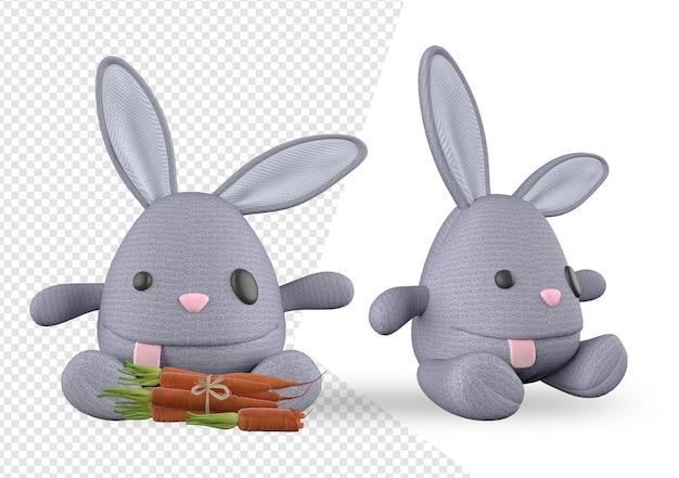 Макет игрушки кролик в дизайне рендеринга Premium Psd