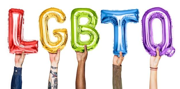 Rainbow alphabet balloons forming the word lgbtq psd file premium rainbow alphabet balloons forming the word lgbtq premium psd reheart Images