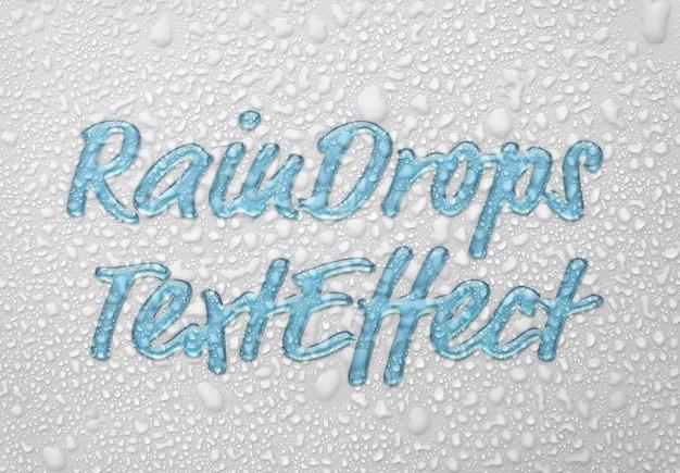 Raindrops text effect mockup Premium Psd