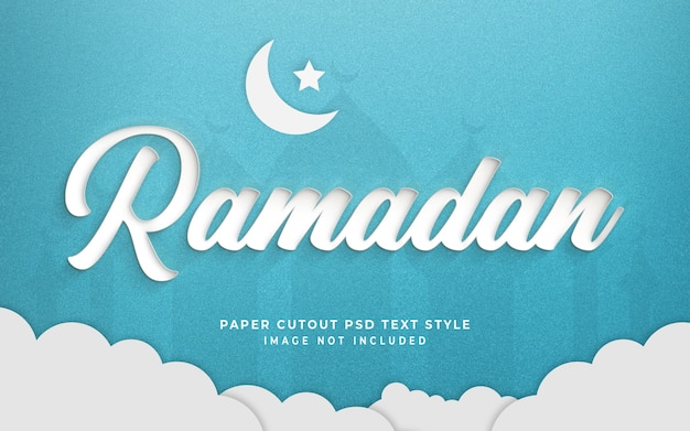 Ramadan 3d text style effect mockup with paper cut style Premium Psd