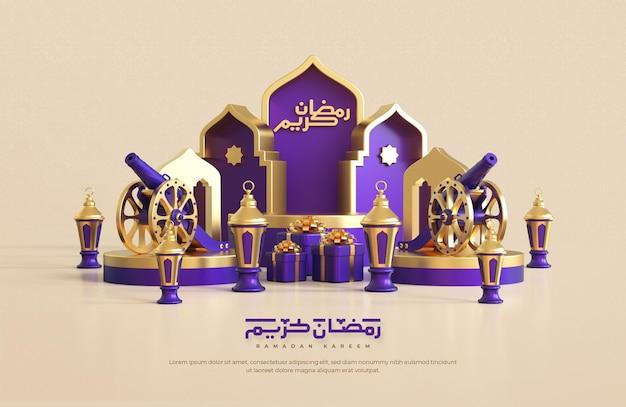 Ramadan kareem greeting background with realistic 3d islamic festive decorative elements Premium Psd