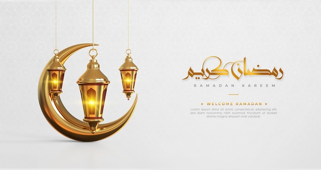 Ramadan kareem islamic greeting background with 3d ramadan decorations Premium Psd