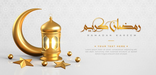Ramadan kareem islamic greeting background with crescent moon , lantern, star and arabic pattern and