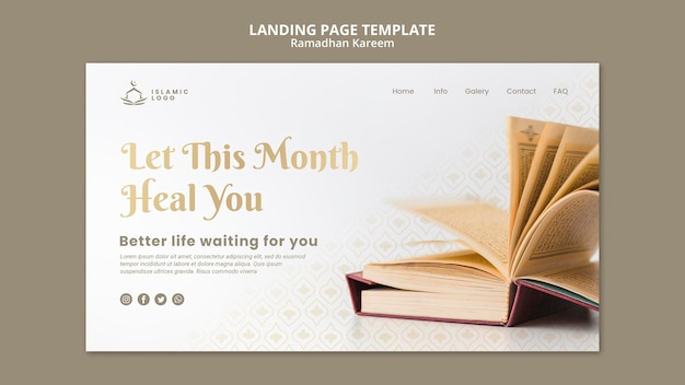 Ramadan landing page template with photo Free Psd