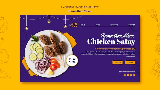 Ramadhan menu landing page template Free Psd