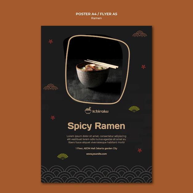 Ramen concept flyer template Premium Psd