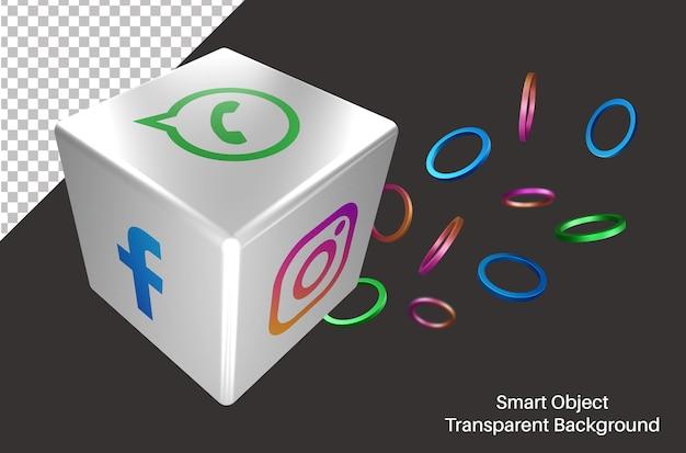 Random whatsapp social media logo in 3d dice Premium Psd