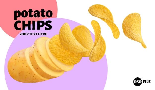 Raw potato turning into flying potato chips isolated on white background Premium Psd