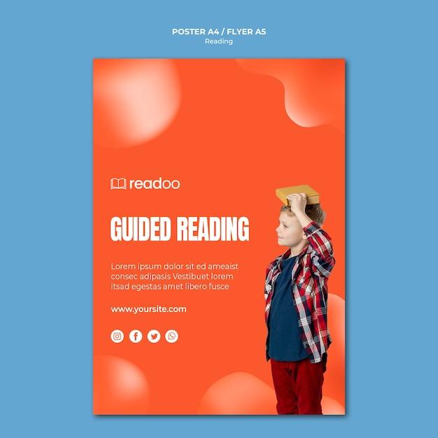 Чтение концепции плаката шаблона Бесплатные Psd
