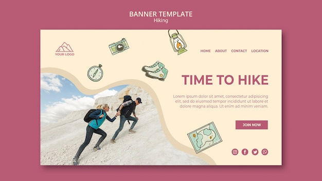 Ready to go on hike adventure banner template Free Psd
